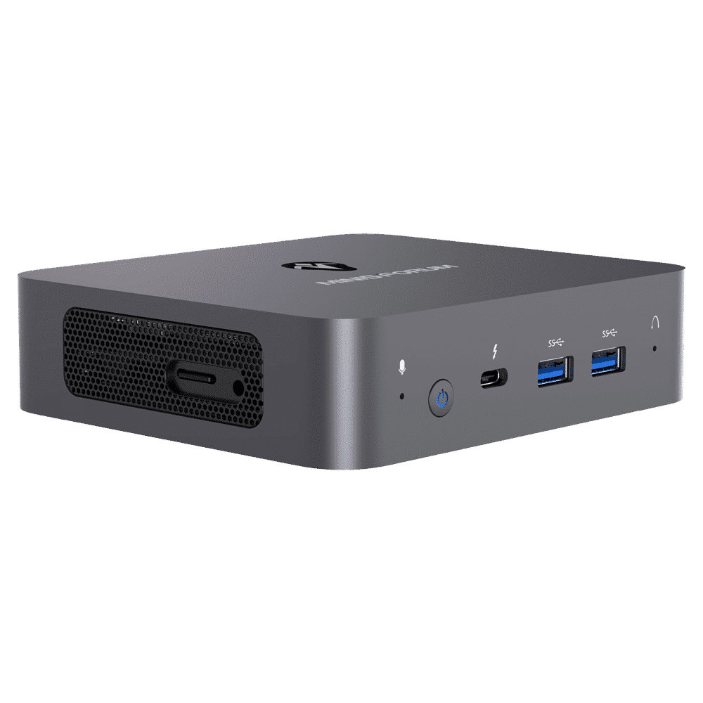 MinisForum X35G Windows Intel NUC Mini PC - Shown from the front at angle with Microphone, Power Port, USB Type-C and 2x USB Type-A 3.0