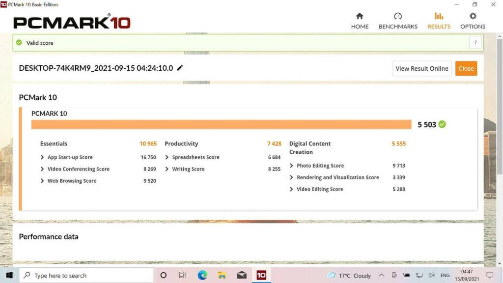 GPD Win MAX 2021 PCMark Score