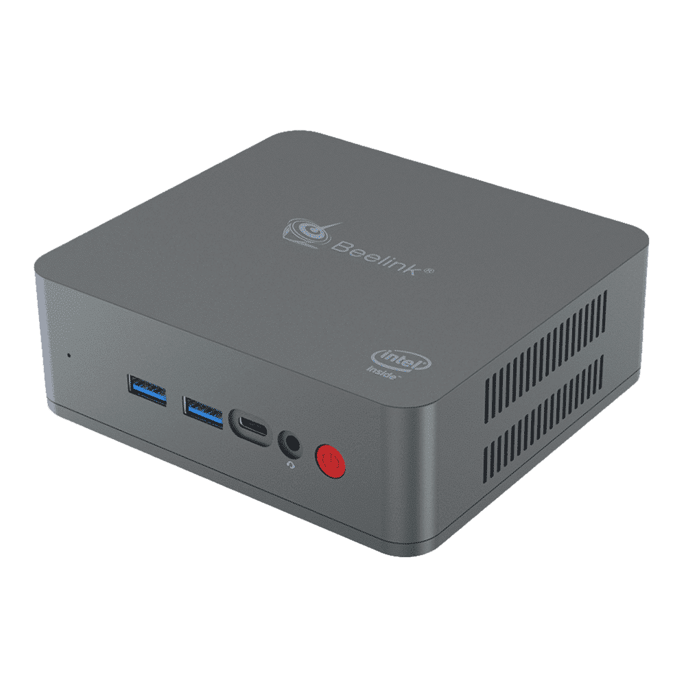 Beelink U55 Windows 10 Mini PC - Front View at an Angle showing Power Button, Headphone Jack, USB Type-C Port and two USB 3.0 Ports