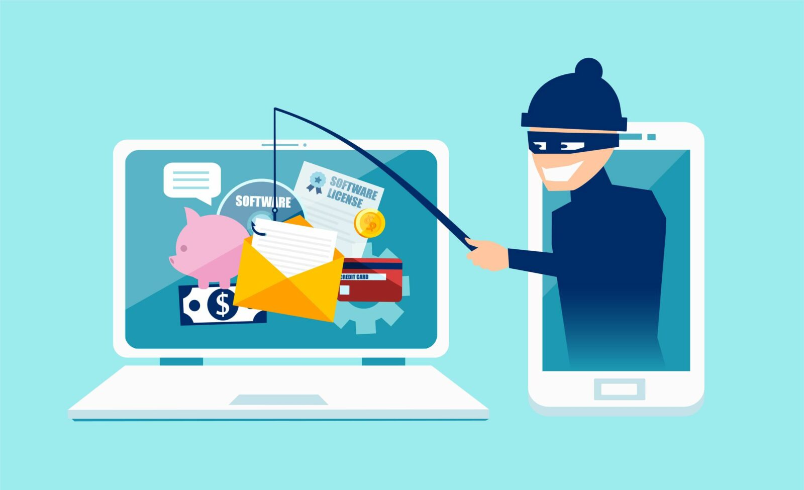 Your online security - Why should you care? Image showing scammer stealing data