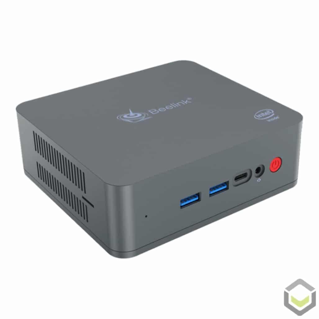 Beelink U55 Windows 10 Mini PC - Side View showing Power Button, Headphone Jack, USB Type-C Port, USB 3.0 Ports and MicroSD/TF Card Reader