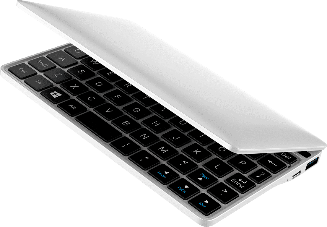GPD Pocket 2 Silver Intel Core m3-8100y Ultrabook shown from the top at angle