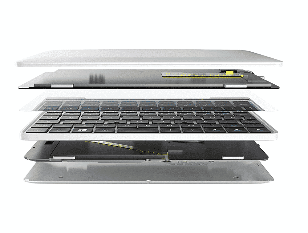 GPD Pocket 2 Silver Intel Core m3-8100y Ultrabook shown with components