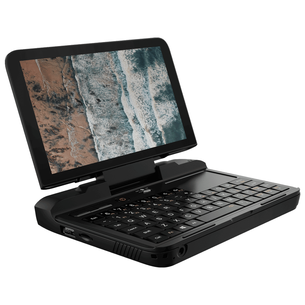 GPD Micro PC Shown from an angle featuring a QWERTY Keyboard, Trackpad and Display