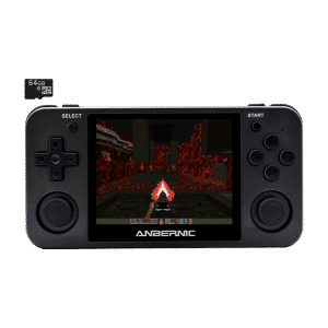 ANBERNIC RG350M Matte Black with 64GB Card - Shown playing DOOM