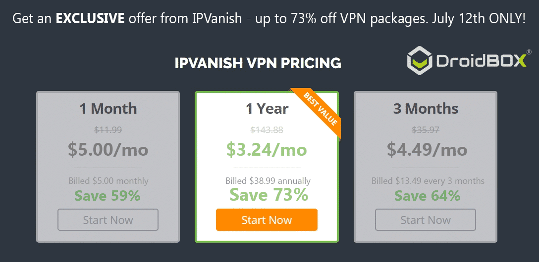 DroidBOX IPVanish 24hr Massive Discount Sale On VPN Packages