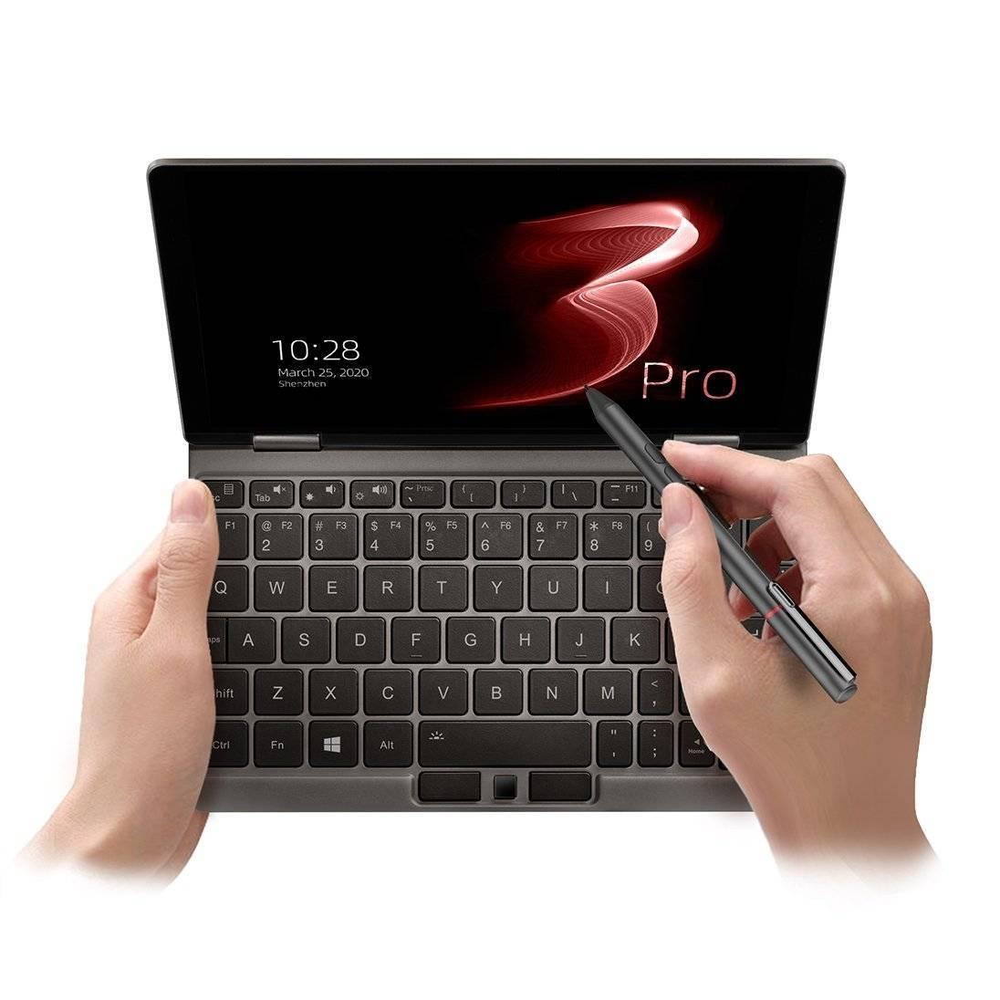 One Netbook Mix 3 Pro Platinum being used with the official One Netbook stylus to draw