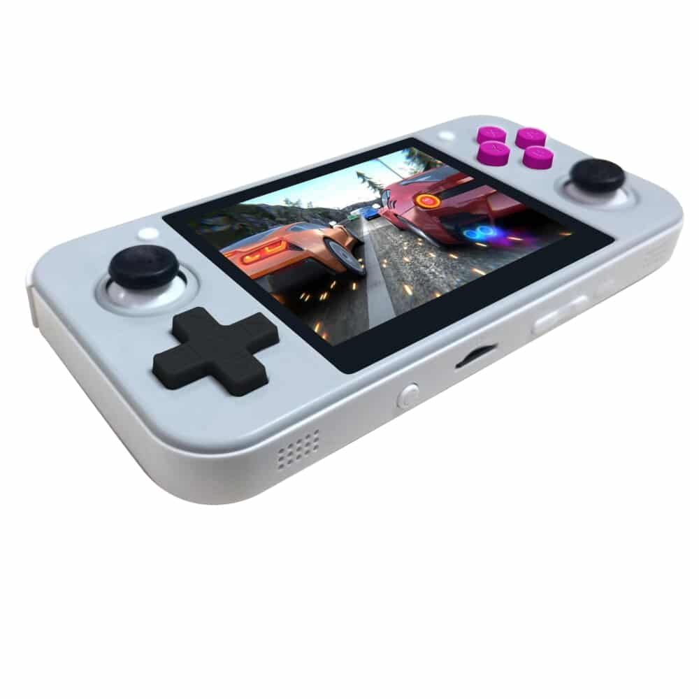 DroiX RetroGame RG350 Retro Gaming Handheld Console - Grey showing D-Pad and MicroSD Card Slot