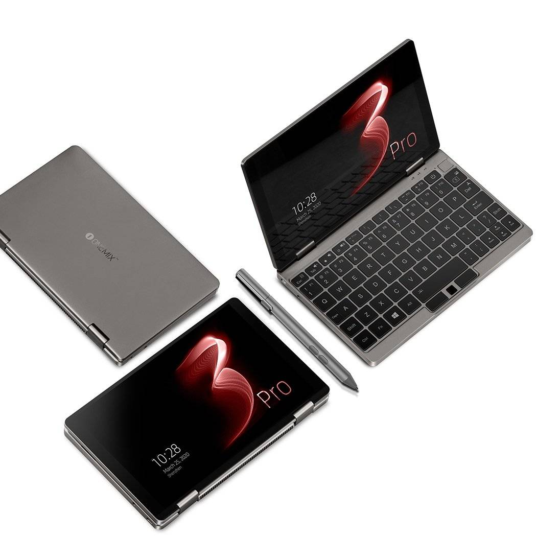 One Netbook Mix 3 Pro Platinum in various modes such as Tablet, Laptop and Closed