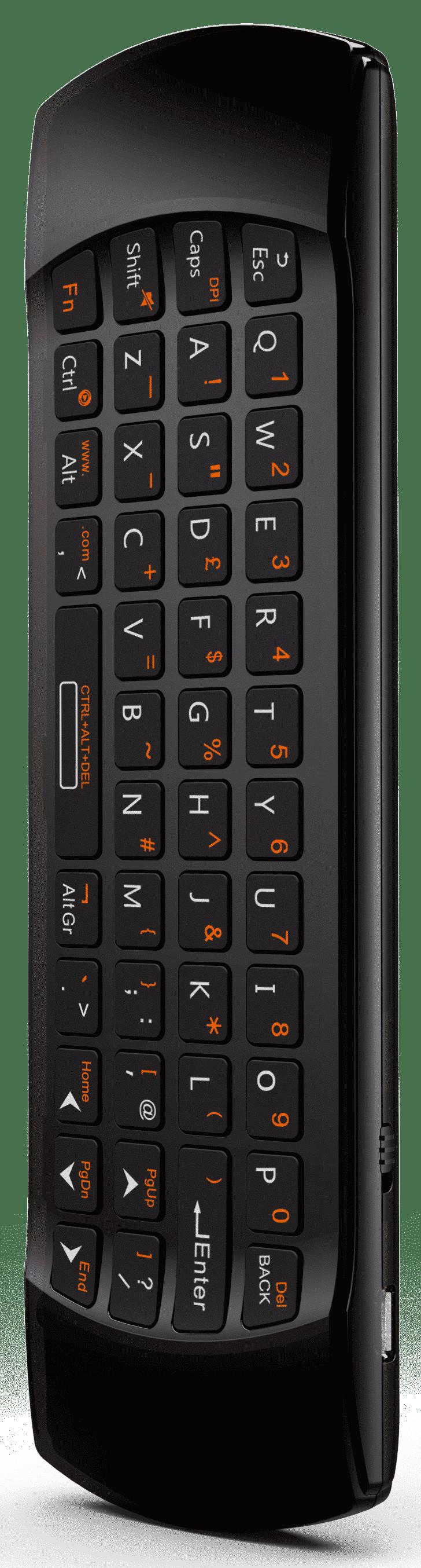 DroidBOX B52 Mini Keyboard Wireless Remote back QWERTY view
