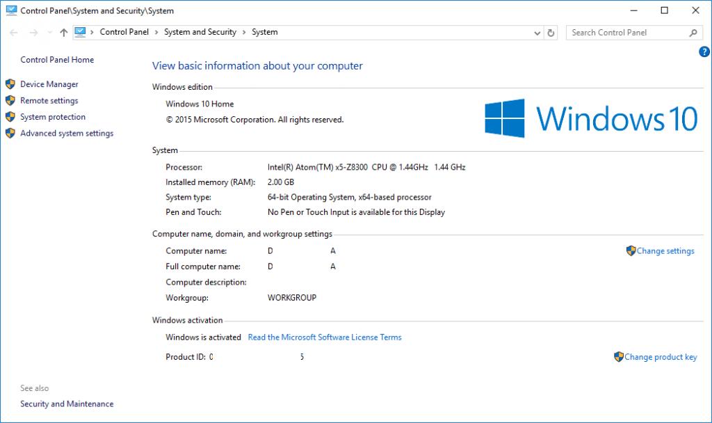 0 Initial System Properties Windows 10 Anniversary Update Pre-Update Properties