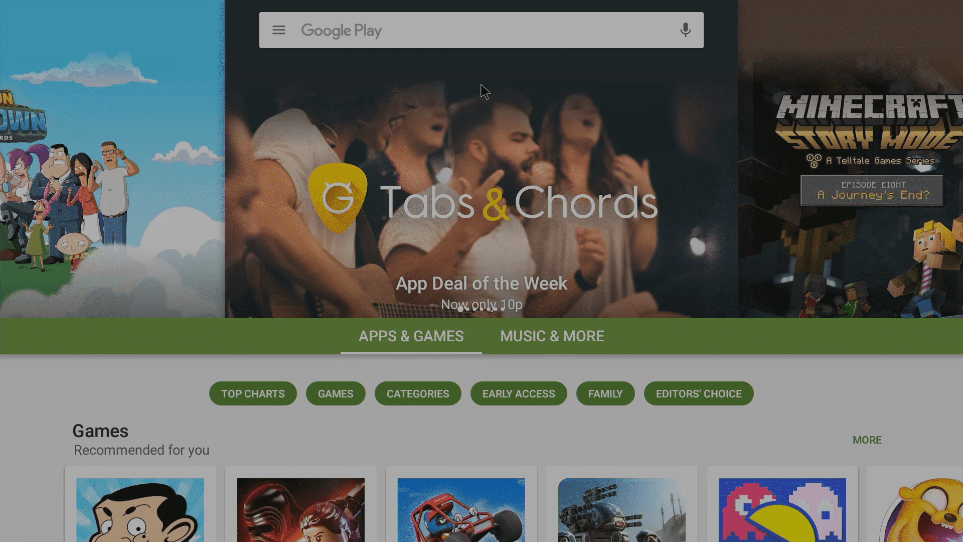 Google's Play Store Home Screen