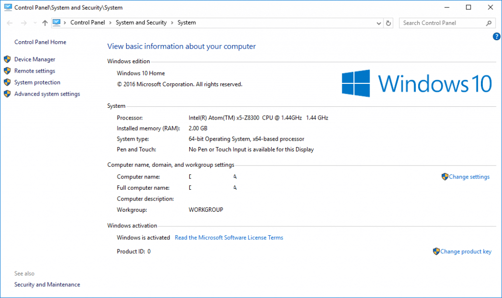 10 System Properties After Windows 10 Anniversary Update