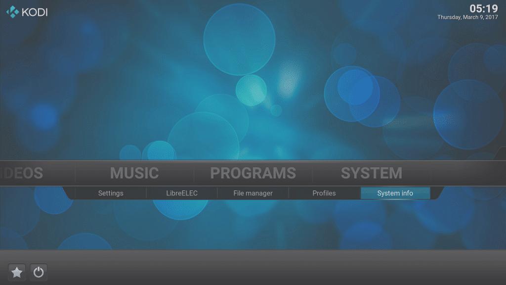 Kodi LibreELEC System System Info Entry