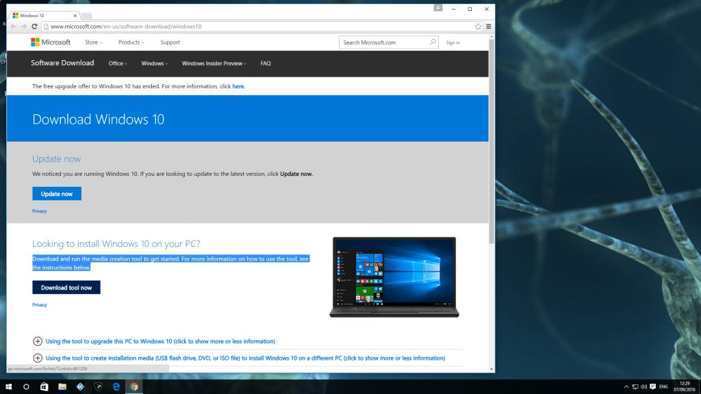 1 Media Creation Tool Windows 10 Anniversary Update