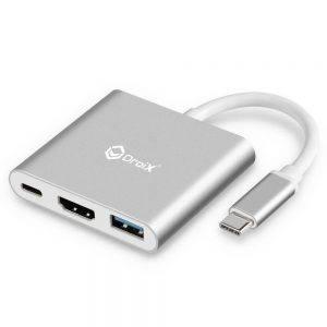 DroiX FX3 USB Type-C Hub showing USB 3.0 Type A Port, HDMI Port and USB Type-C Port