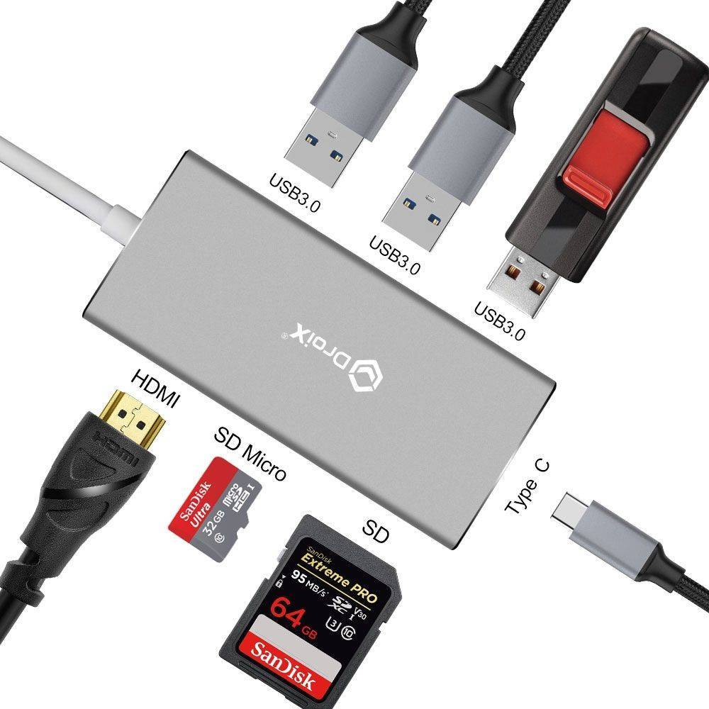 DroiX FX7 USB Type-C Hub illustrating its HDMI, MicroSD, SD, USB Type-C, and three USB Type-A Connections