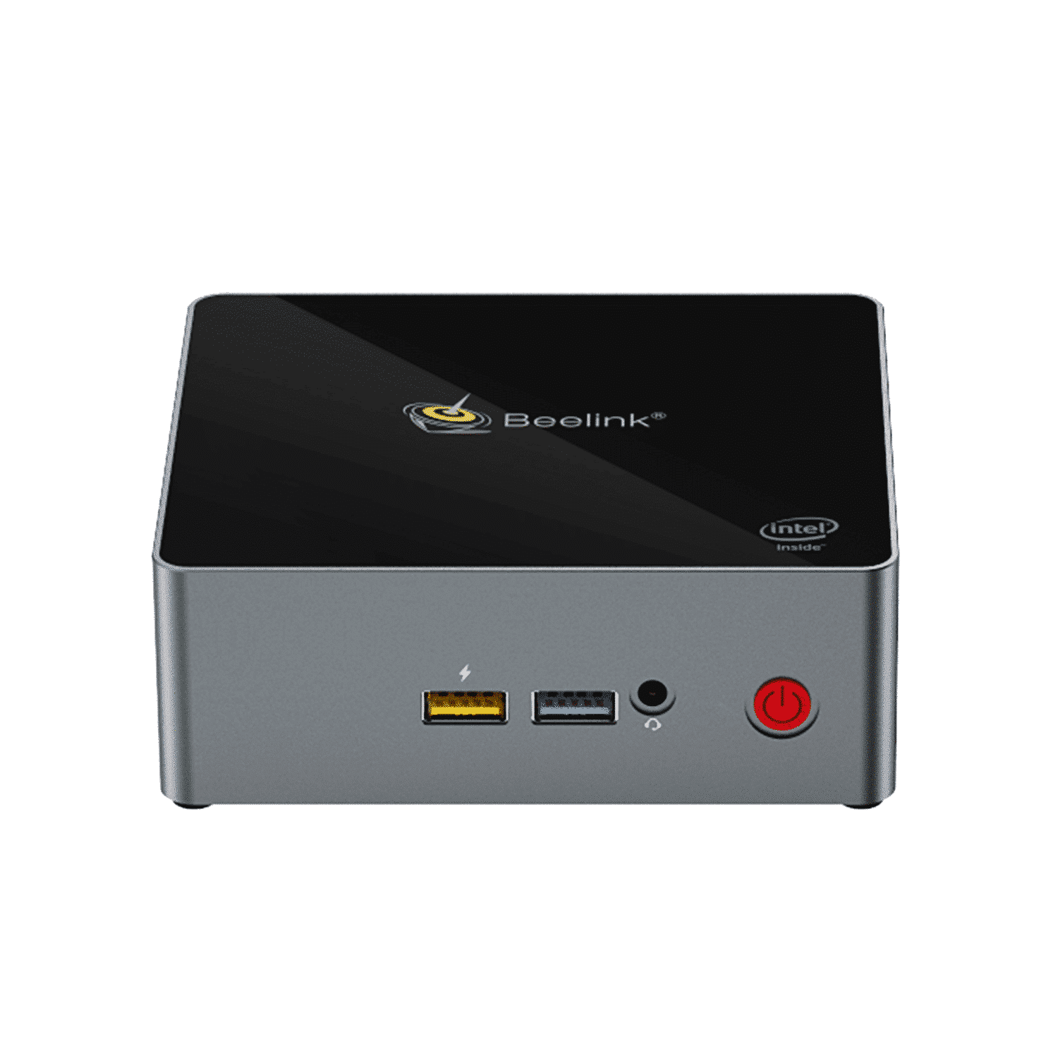 Beelink J45 Windows 10 Mini Computer for Home or Office - Front View showing Power Port, 2x USB Type-A and 3.5mm Headphone&Microphone Jack