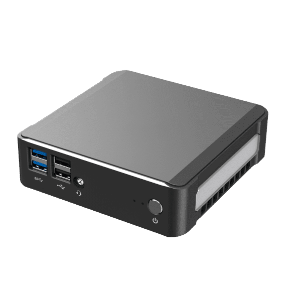 DroiX CK1 Mini PC Windows 10 NUC Up to Intel Core i7 Chipset, 512GB PCI-E NVMe SSD, 16GB DDR4 RAM - Showing front with 2x USB 3.0 Ports ; 2x USB 2.0 Ports ; 3.5mm Headphone&Microphone Jack and Power Button