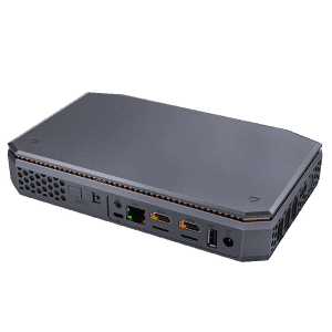 AMD T12 Windows 10 HTPC - Showing rear I/O with Power Supply Port, 2x HDMI Ports, 1GB/s LAN Port, Kensington Lock and 3.5mm Headphone Jack