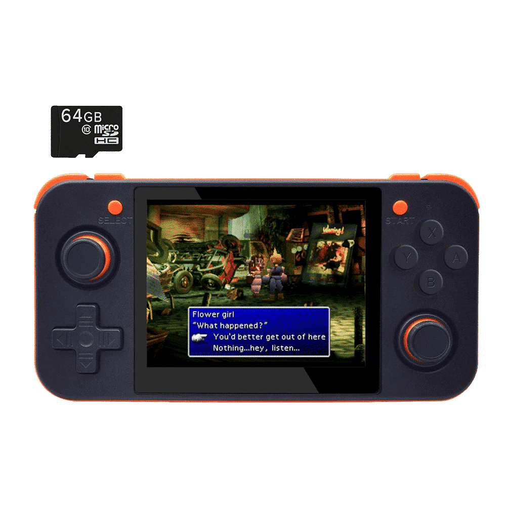 DroiX RetroGame RG350 Retro Gaming Handheld Console - Black with Included 64GB MicroSD Card