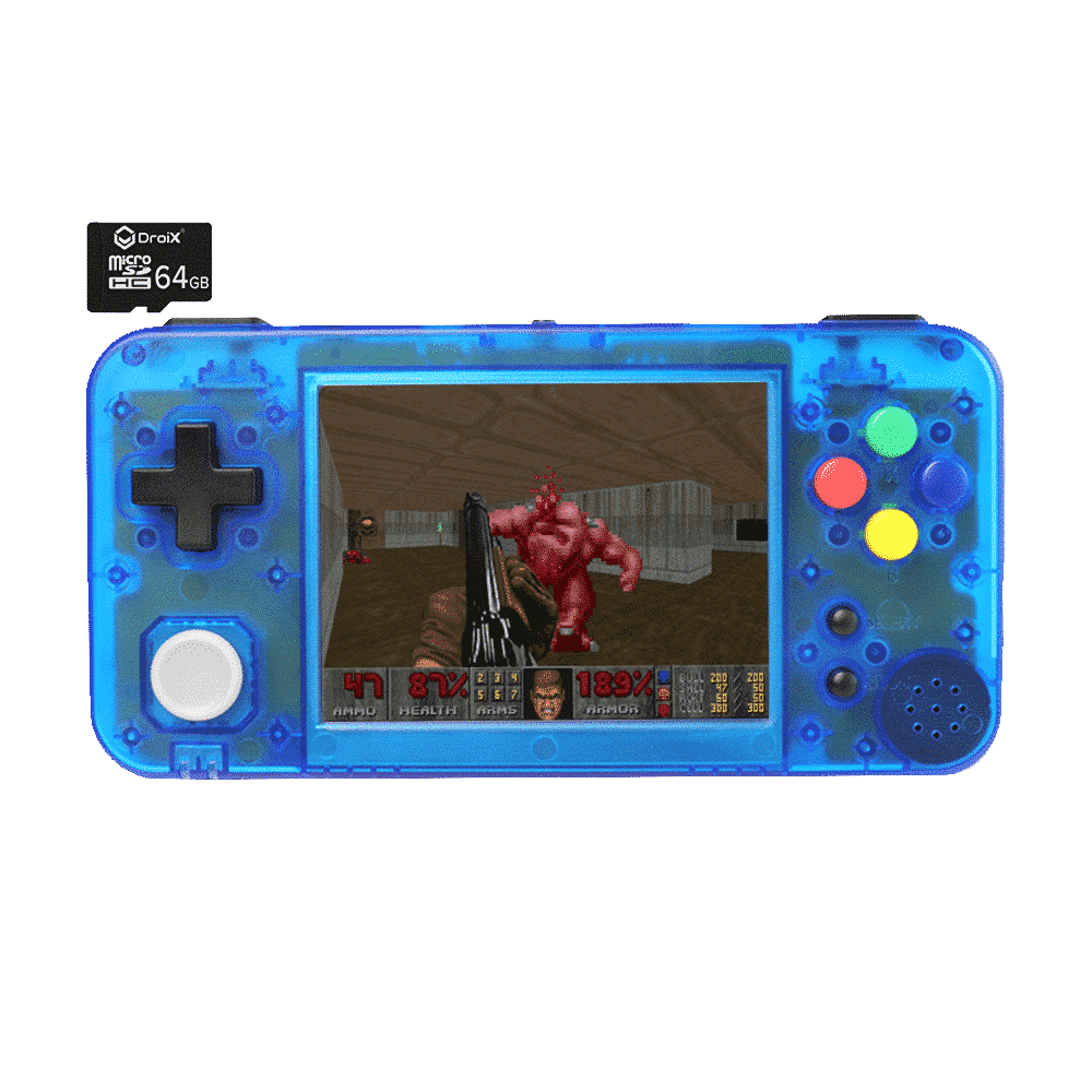 GKD350H Portable Retro Gaming Handheld by DroiX with 64GB DroiX Micro SD Card - Transparent Blue Front View