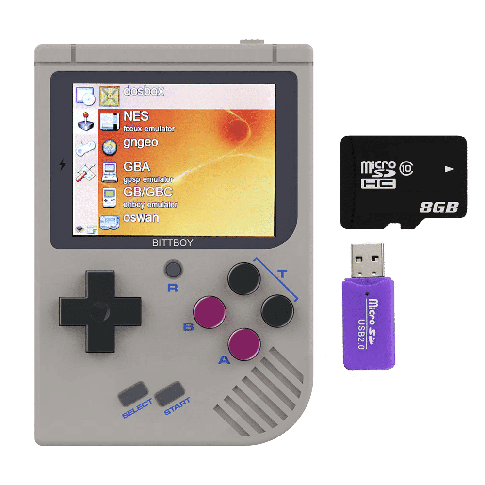 NEW Bittboy V3 Retro Gaming Handheld Emulator - Front View with Software, 8GB Micro SD Card and Reader