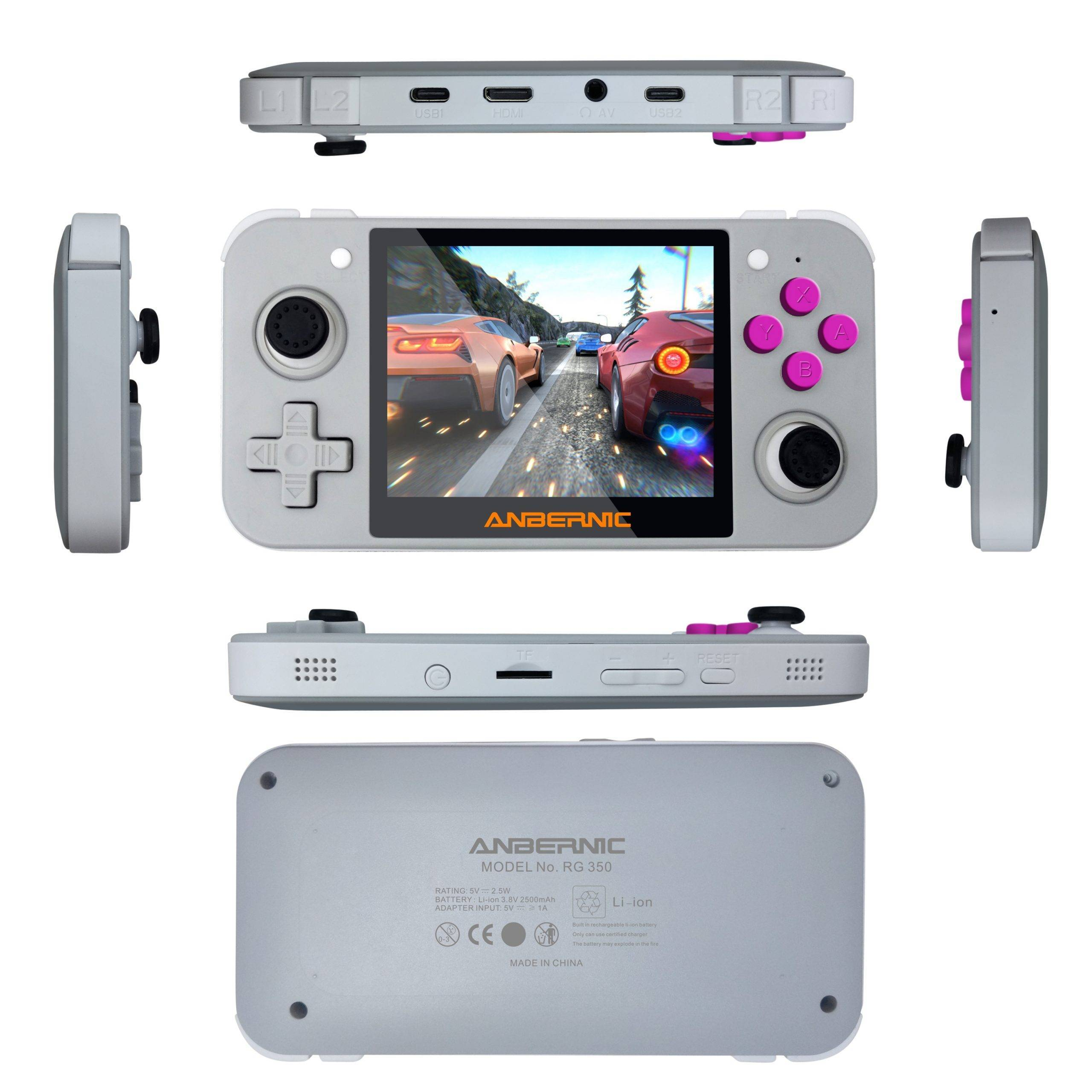 DroiX RetroGame RG350 Retro Gaming Handheld Console - Grey showing All Sides