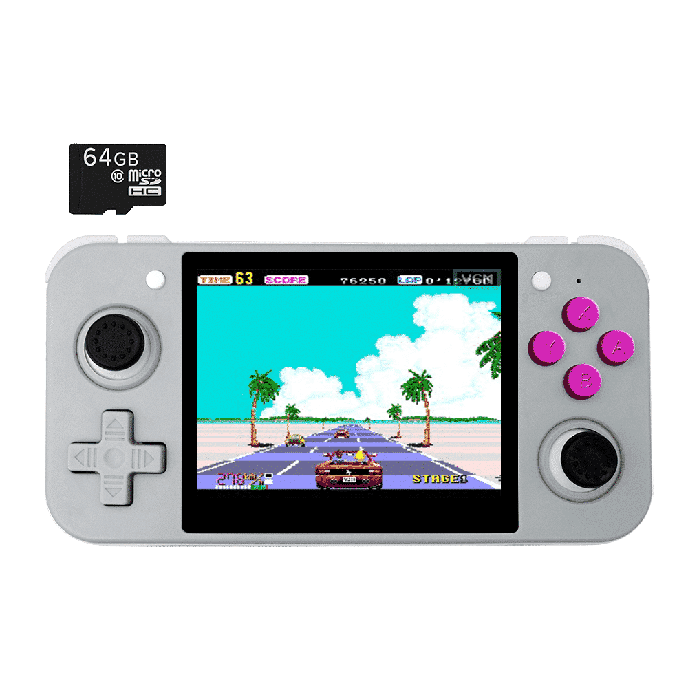 DroiX RetroGame RG350 Retro Gaming Handheld Console - Grey with Included 64GB MicroSD Card