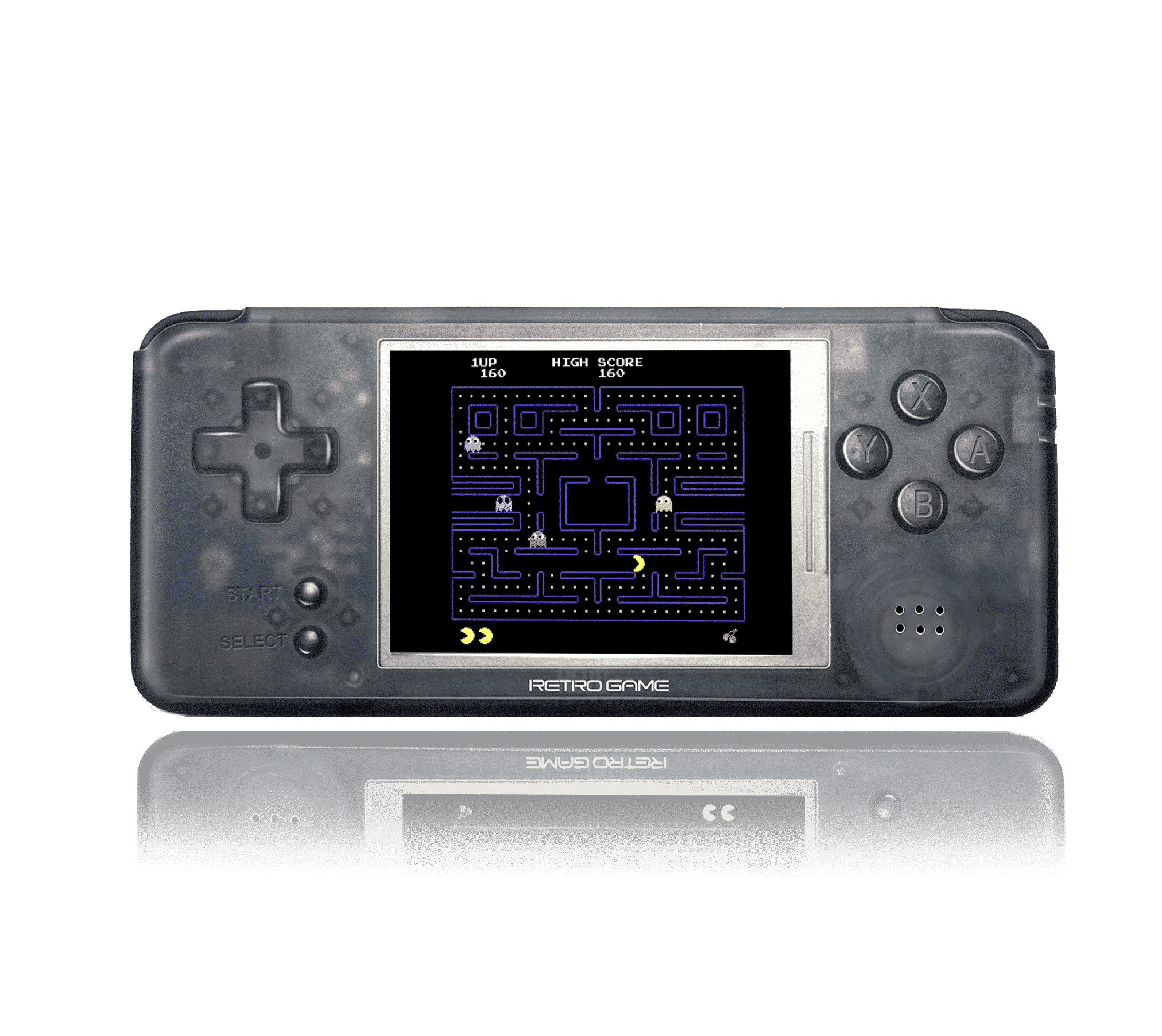 Coolbaby  RetroGame RS-97 PRO Transparent Front View playing Pac Man