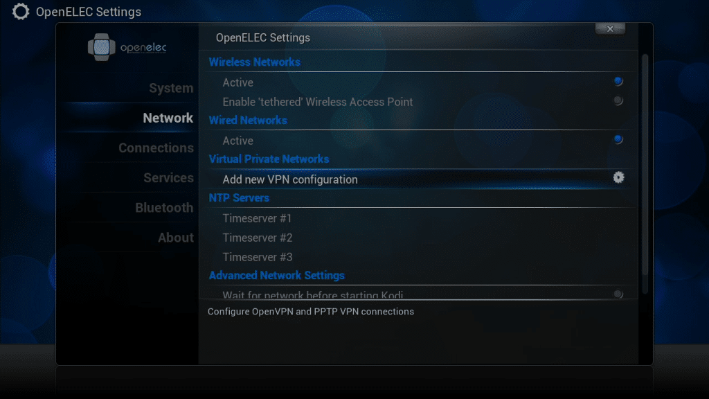Add VPN option openELEC
