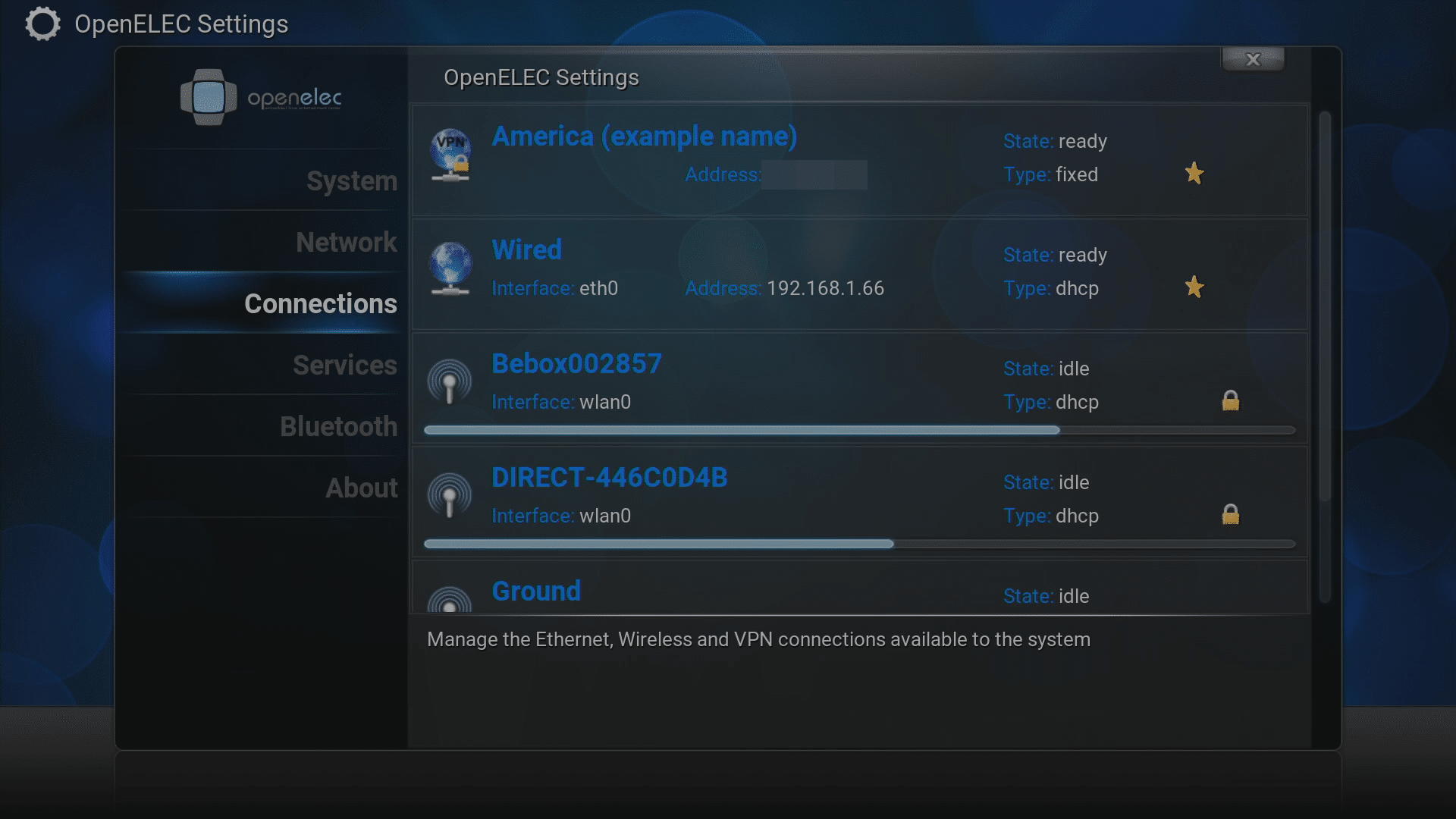 DroidBOX® OpenELEC Connections Area With VPN Showing