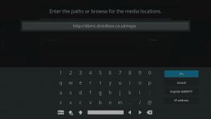 Kodi 17 LibreELEC System File Manager Add Source URL Entry Keyboard URL Entered