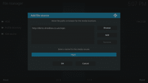 Kodi 17 LibreELEC System File Manager Add Source Label Highlighted