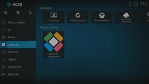 Kodi 17 LibreELEC Kodi Homescreen Add-ons Highlighted
