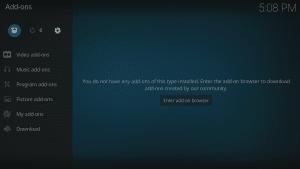 Kodi 17 LibreELEC Kodi Homescreen Add-ons Browser Icon Highlighted