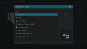 Kodi 17 LibreELEC Kodi Add-ons Install From ZIP Source Selection