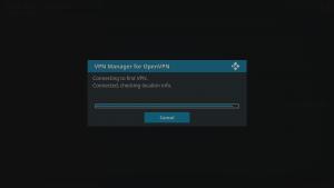 Kodi 17 LibreELEC VPN Manager for OpenVPN VPN Connections Connection Made Self Test