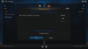 Kodi 16 LibreELEC VPN Manager for OpenVPN File Manager Add Source Address And Label Entered Click OK