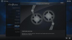 Kodi 16 LibreELEC VPN Manager for OpenVPN System Menu Add-Ons Area Highlighted