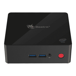 Beelink X55 Windows 10 Home Mini Computer showing front USB 3.0 Ports and 3.5mm Headphone&Microphone Jack along with Power Button and top Beelink logo