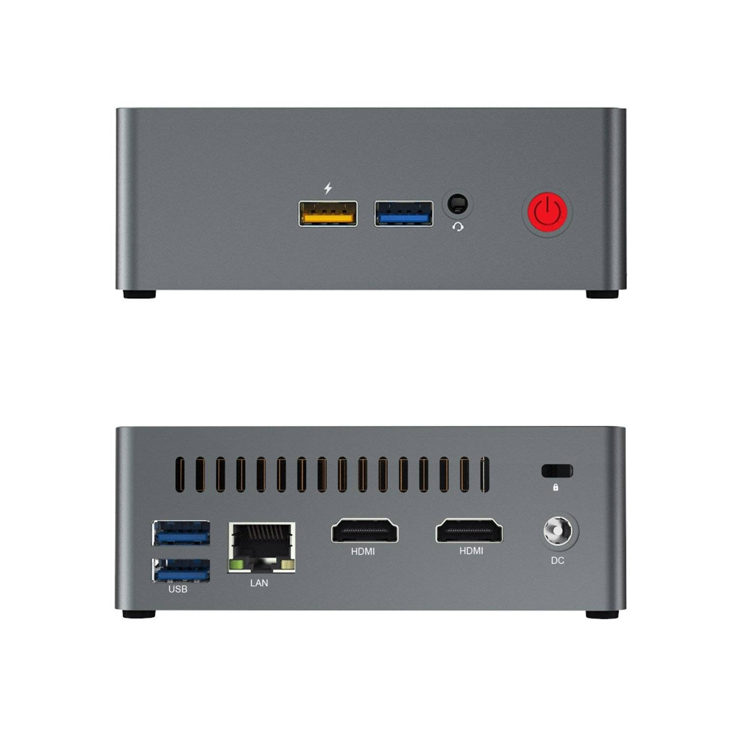 Beelink J45 Windows 10 Mini Computer for Home or Office - Front View showing 2x USB Type-A 3.0 Ports, 3.5mm Headphone&Microphone Jack and Rear I/O
