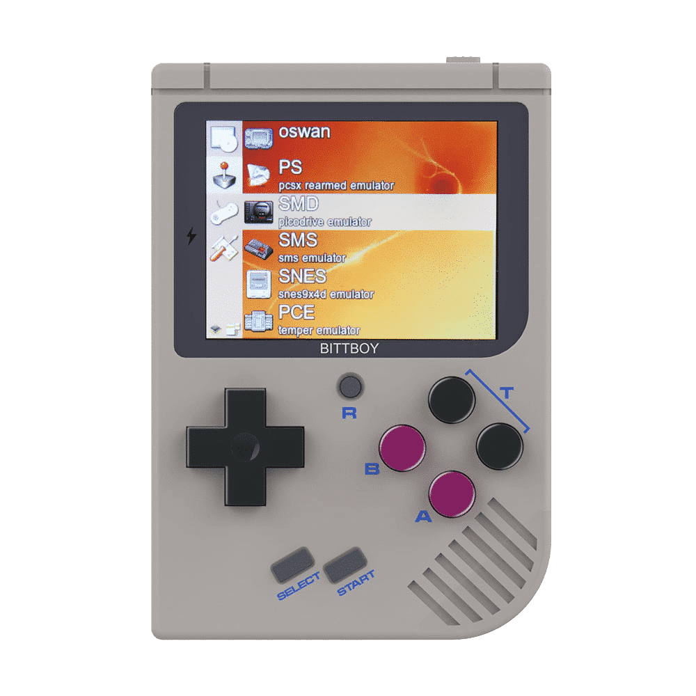 NEW Bittboy V3 Retro Gaming Handheld Emulator - Front View with Software