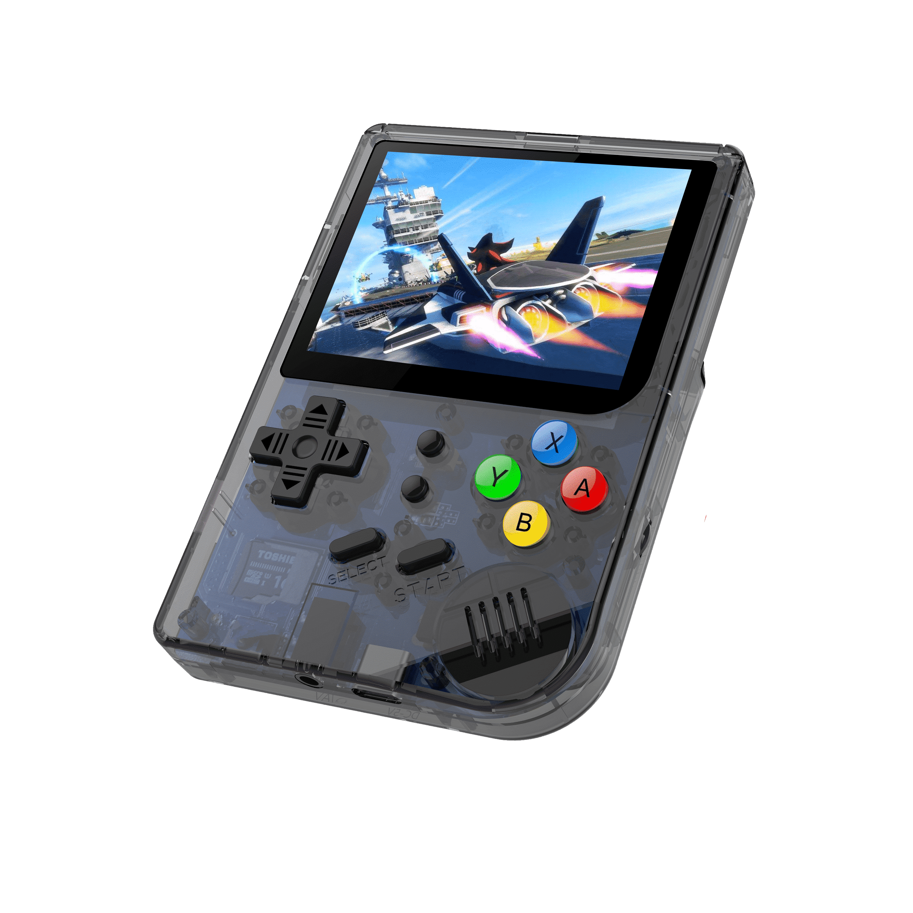 RG300 OpenDingux Retro Gaming Portable Handheld - Transparent playing a Retro Game