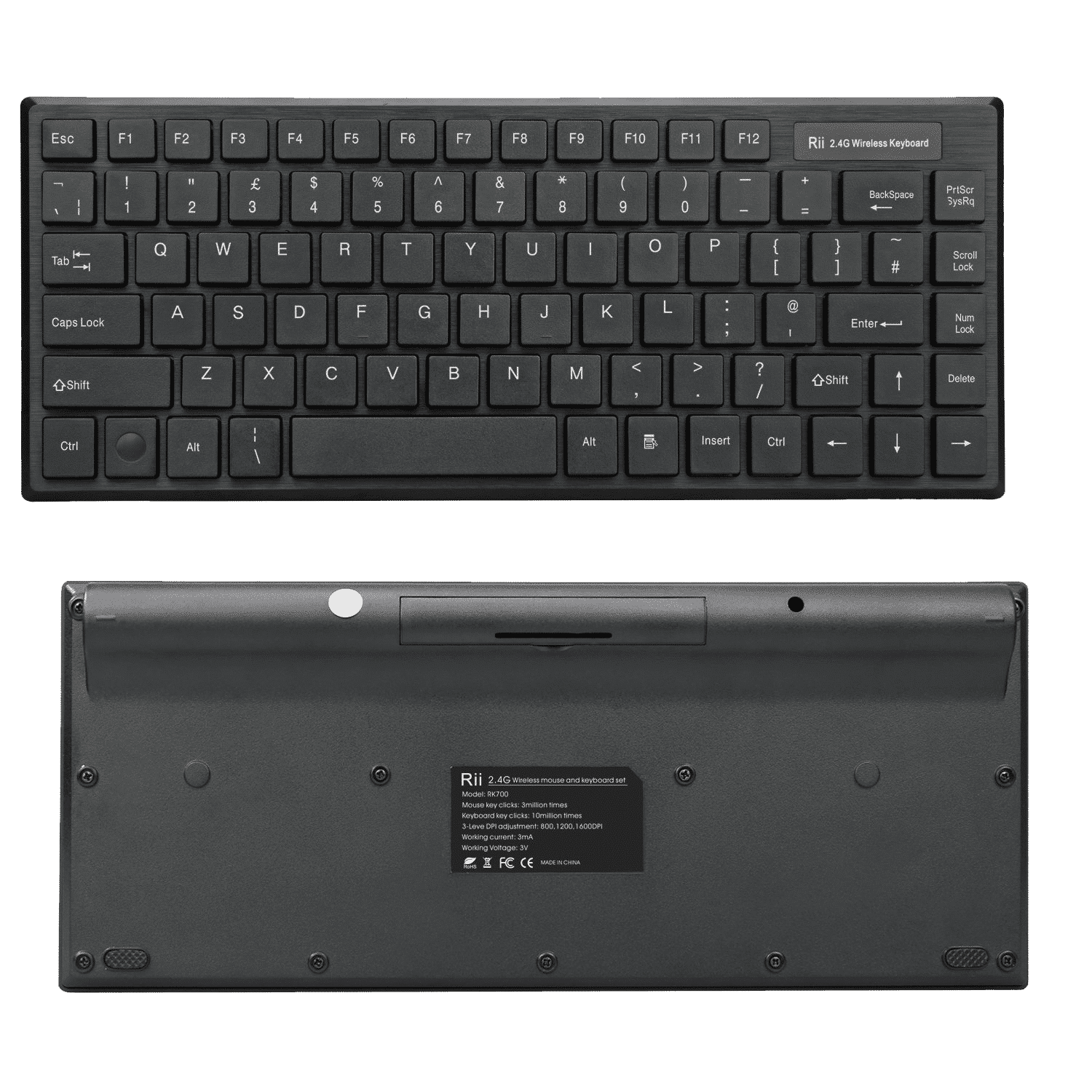 Rii RK700 Wireless Keyboard front and back