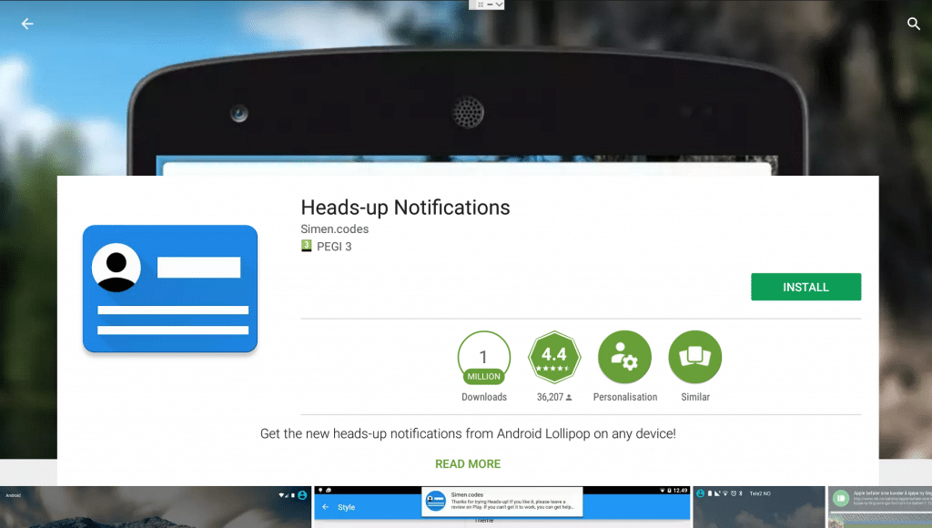 Play Store Heads Up Notifications Page