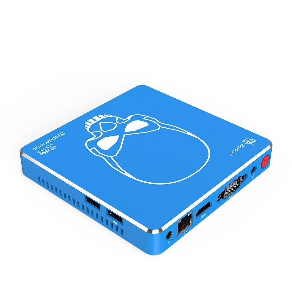 Beelink GT King PRO Android 9 Dolby DTS 4K UHD TV BOX - Side and Back View showing A/V, RJ45 Ethernet Port, HDMI, RS-232, Power Port and Button