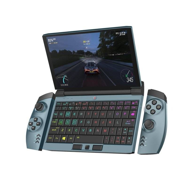 One Netbook OneGx1 Gaming Handheld - Playing an Racing Game with the detachable controls