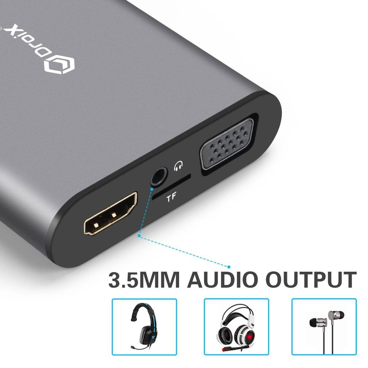 DroiX FX8 USB Type-C Hub Audio Output Port for Speakers,Headphones,Earphones