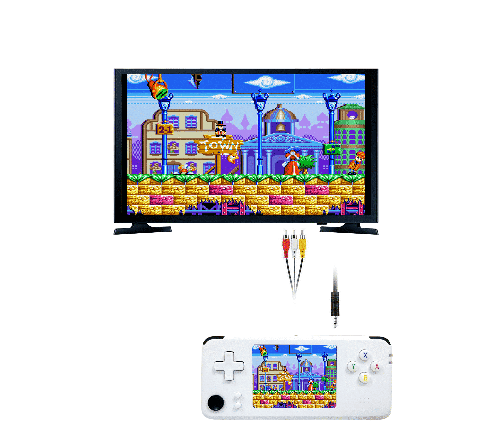 DroiX RS-97 Plus V2 Open Dingux Retro Gaming Console Handheld - White TV Output